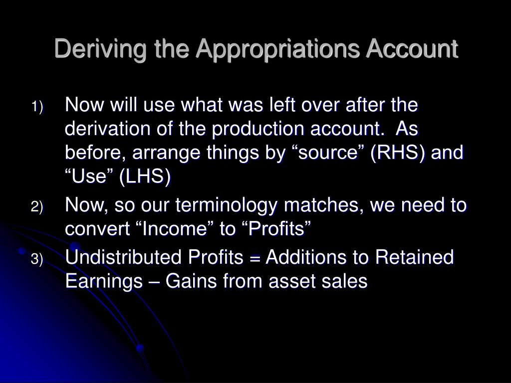 Deriving the Appropriations Account