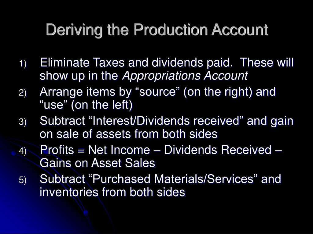 Deriving the Production Account