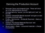 deriving the production account26