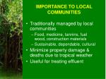 importance to local communities
