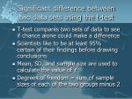 significant difference between two data sets using the t test