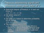 steps to determining significant difference when given value of t