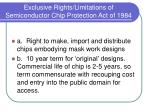 exclusive rights limitations of semiconductor chip protection act of 1984