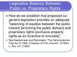 legislative balance between public vs proprietary rights