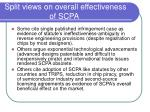 split views on overall effectiveness of scpa