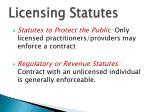 licensing statutes