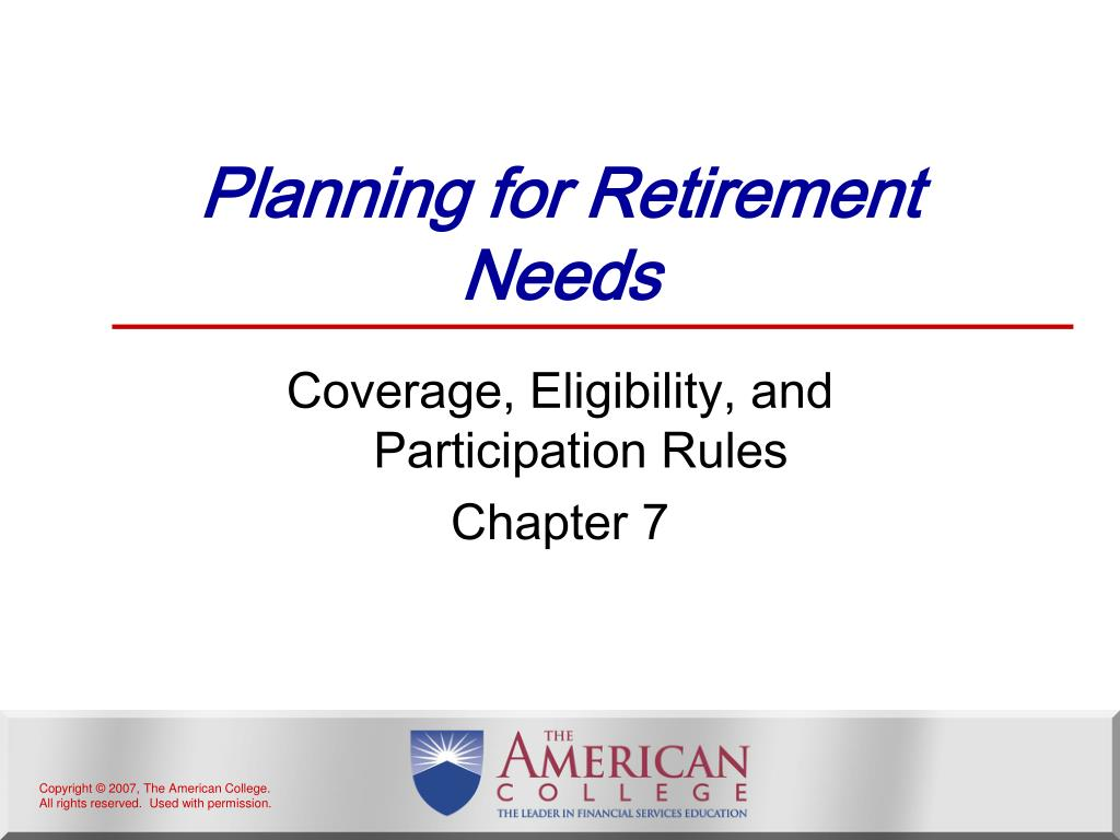 planning for retirement needs l.