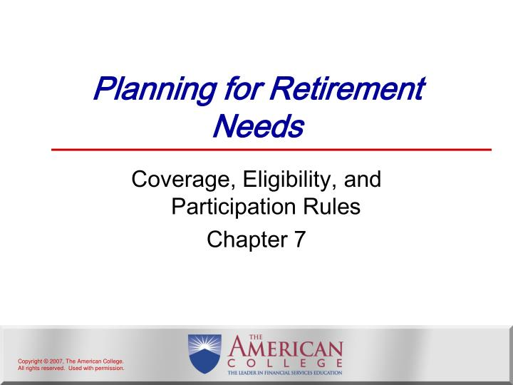 planning for retirement needs n.