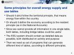 some principles for overall energy supply and use tables