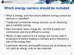 which energy carriers should be included