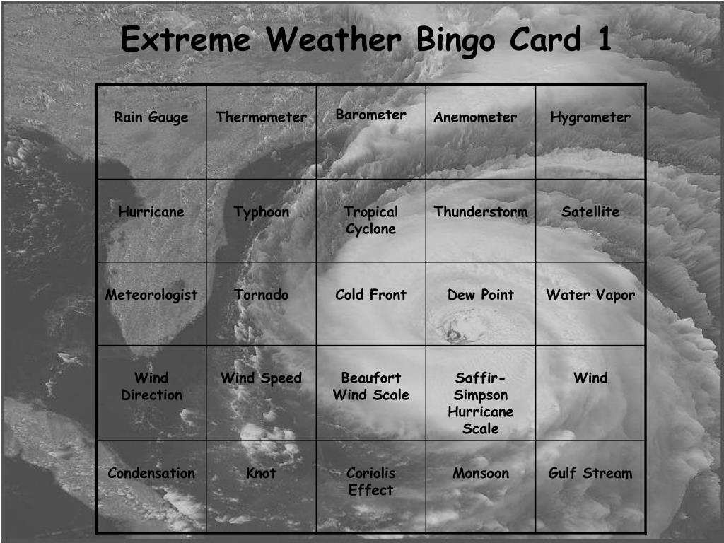 extreme weather bingo card 1 l.