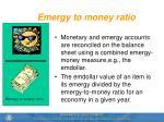 emergy to money ratio