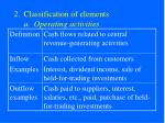 classification of elements a operating activities