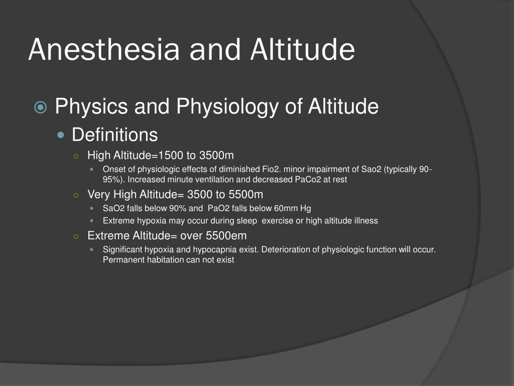 anesthesia and altitude l.