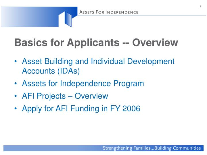 Basics for applicants overview