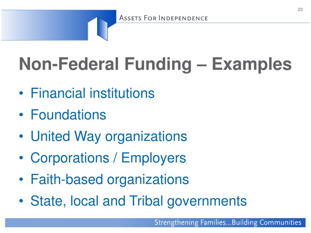 Non-Federal Funding – Examples