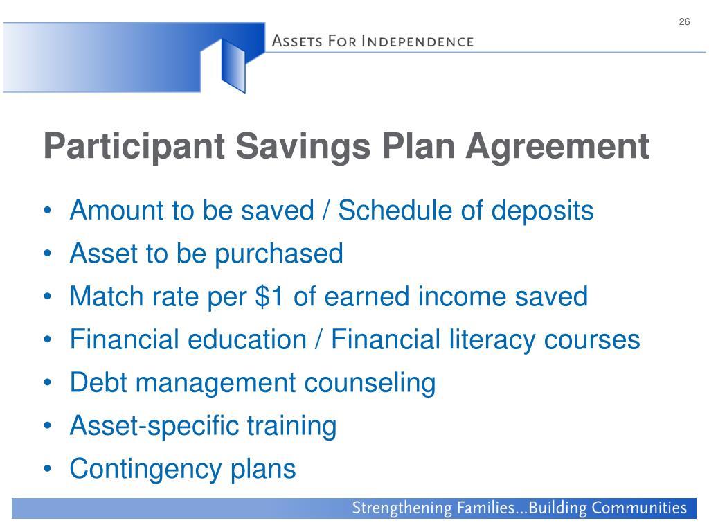 Participant Savings Plan Agreement