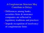 a conglomerate structure may contribute to delays