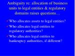 ambiguity re allocation of business units to legal entities regulatory domains raises questions