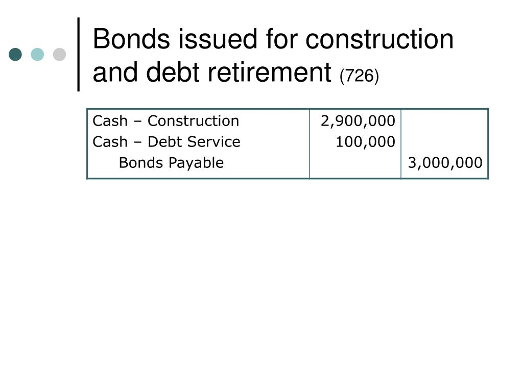 Bonds issued for construction and debt retirement