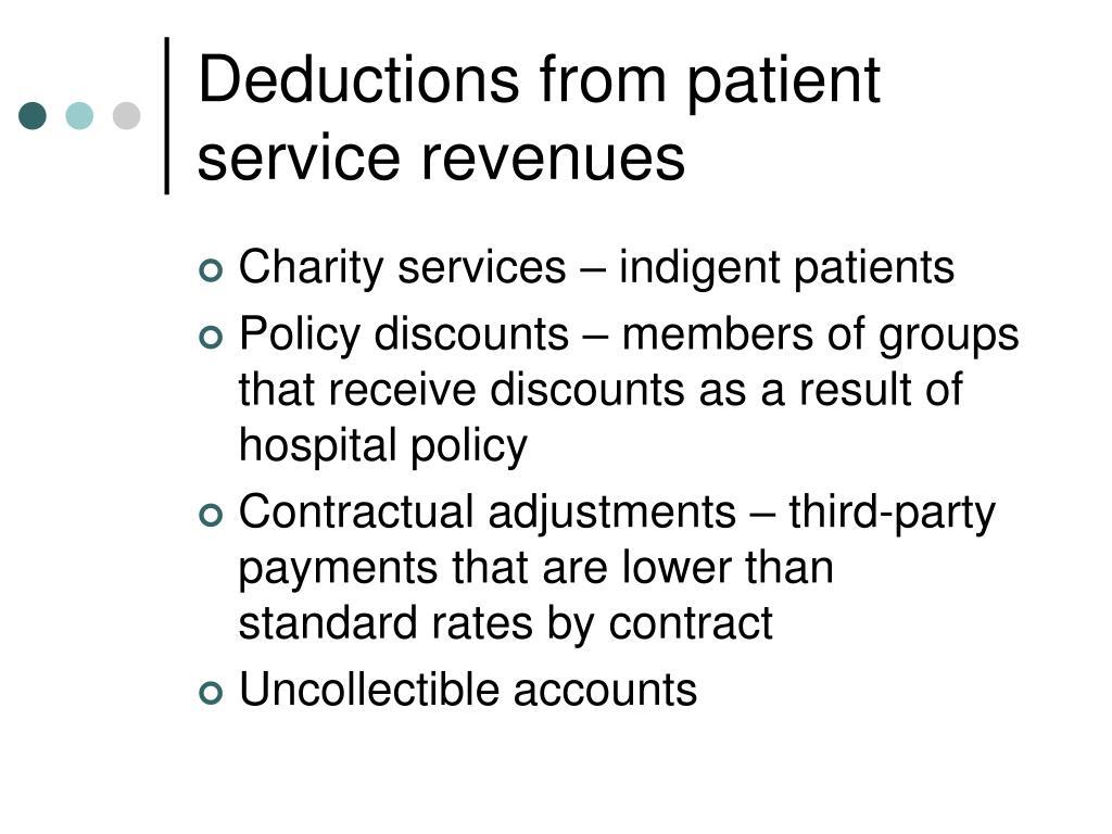 Deductions from patient service revenues