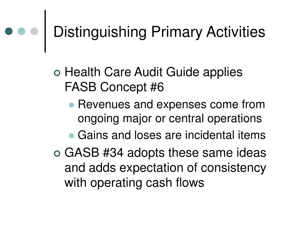 Distinguishing Primary Activities