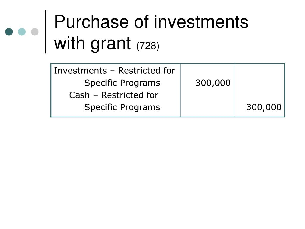 Purchase of investments with grant