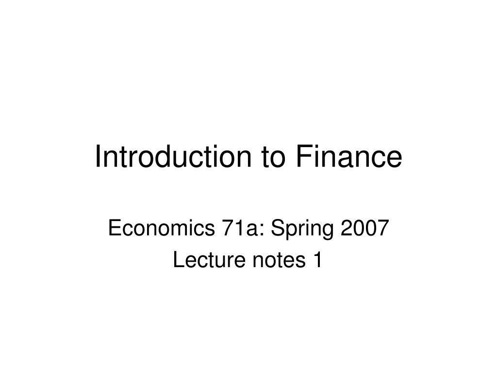 introduction to finance l.