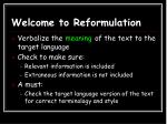 welcome to reformulation