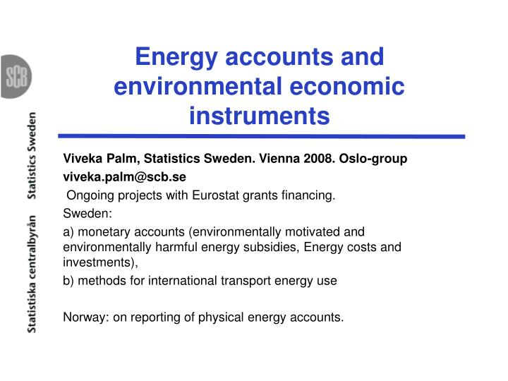 energy accounts and environmental economic instruments n.