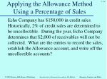 applying the allowance method using a percentage of sales1