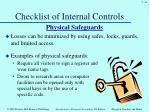 checklist of internal controls6