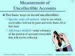 measurement of uncollectible accounts