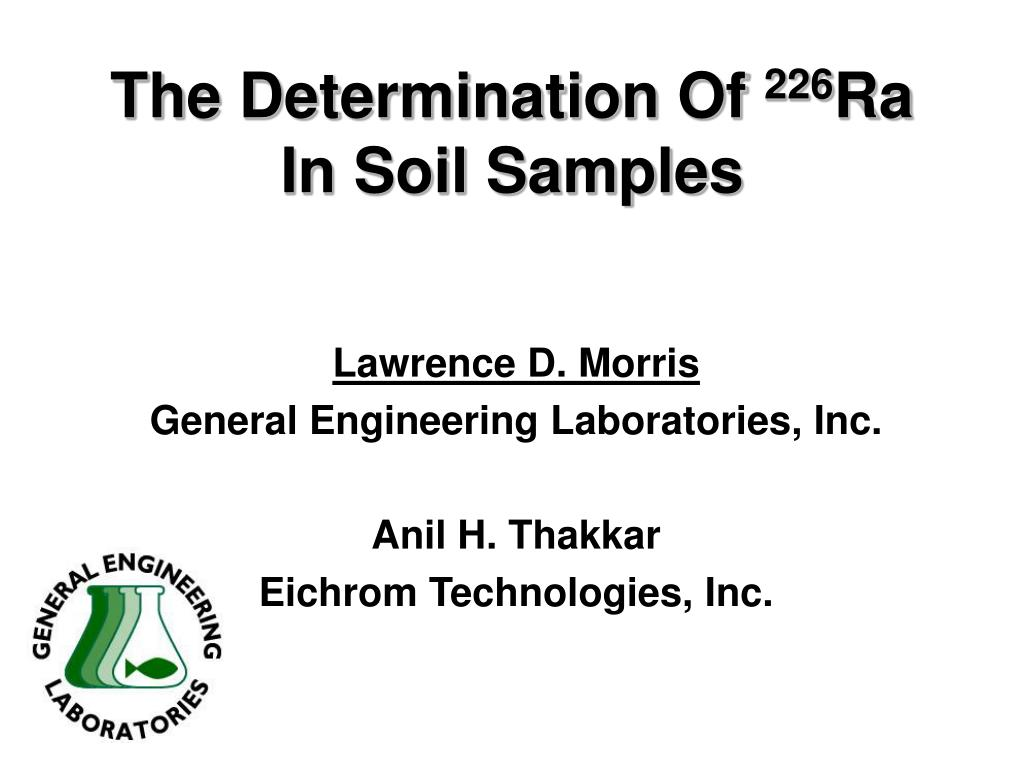 the determination of 226 ra in soil samples l.