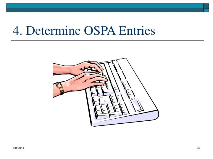 4. Determine OSPA Entries