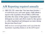 a r reporting required annually