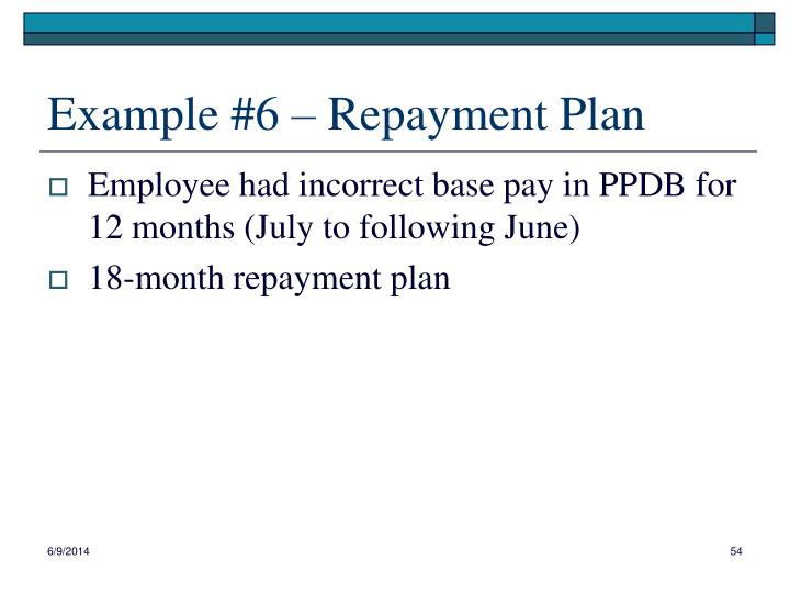 Example #6 – Repayment Plan