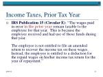 income taxes prior tax year