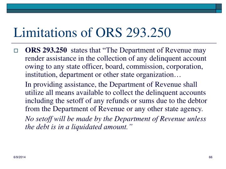 Limitations of ORS 293.250