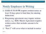 notify employee in writing