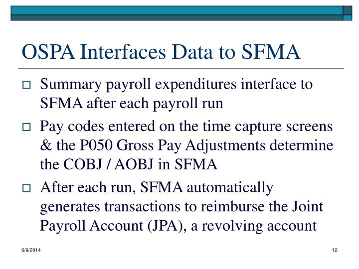 OSPA Interfaces Data to SFMA