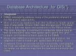database architecture for gis51