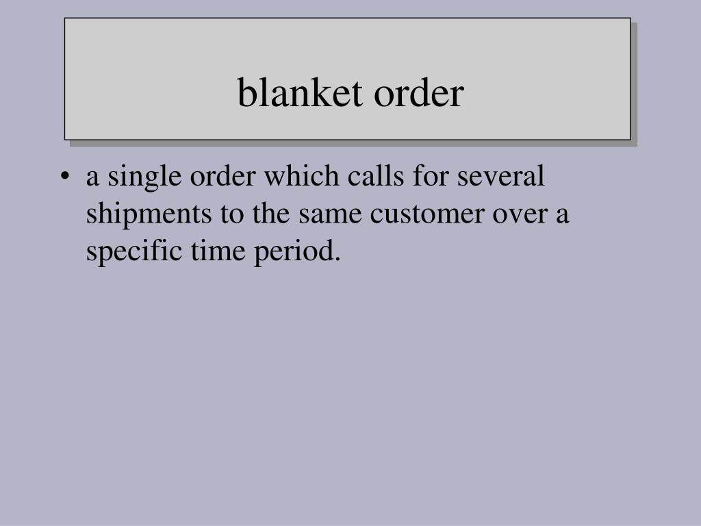 a single order which calls for several shipments to the same customer over a specific time period.