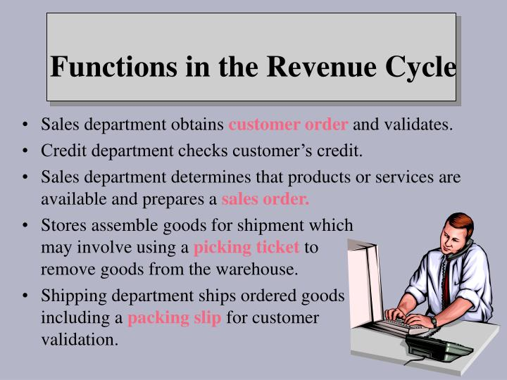 Functions in the revenue cycle
