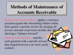 methods of maintenance of accounts receivable