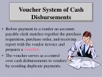 voucher system of cash disbursements