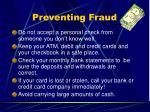 preventing fraud