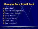 shopping for a credit card