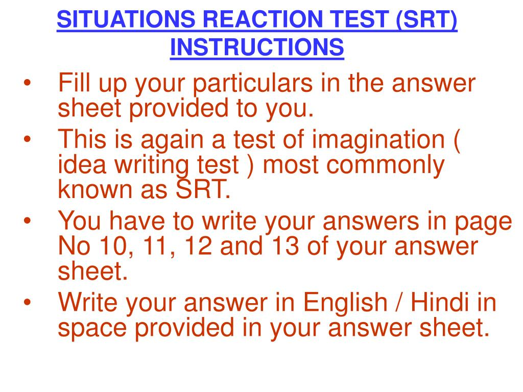 situations reaction test srt instructions l.