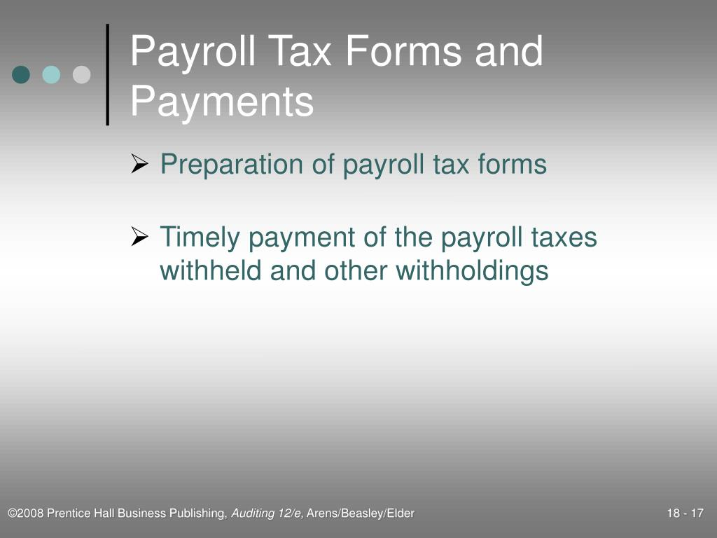 Payroll Tax Forms and Payments